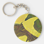 Yellow Art in Bold Abstract Design Key Chain