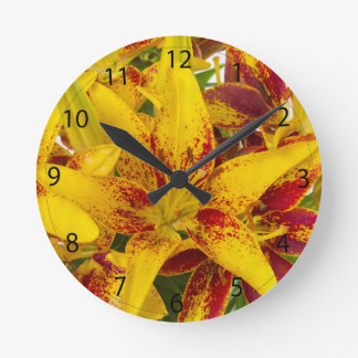 Yellow Asiatic lily Wall Clocks