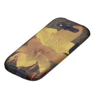 Yellow Asiatic lily on old grunged canvas backgrou Galaxy S3 Covers