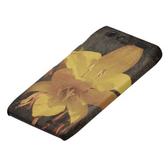Yellow Asiatic lily on old grunged canvas backgrou Droid RAZR Case