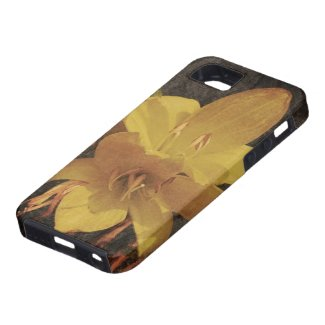 Yellow Asiatic lily on old grunged canvas backgrou iPhone 5 Covers