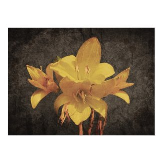 Yellow Asiatic lily on old grunged canvas backgrou Custom Invite