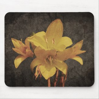 Yellow Asiatic lily on old grunged canvas backgrou