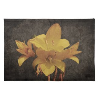 Yellow Asiatic lily on old grunged canvas backgrou Placemats