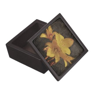 Yellow Asiatic lily on old grunged canvas backgrou Premium Gift Boxes