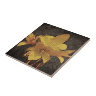 Yellow Asiatic lily on old grunged canvas backgrou Ceramic Tile