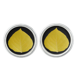 Yellow Aspen Leaf #5 Cufflinks