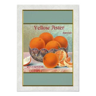 "Yellow Aster Brand Oranges 5"" X 7"" Invitation Card"