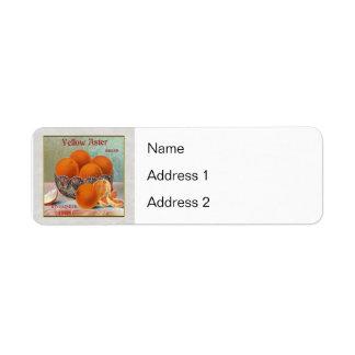 Yellow Aster Brand Oranges Custom Return Address Labels
