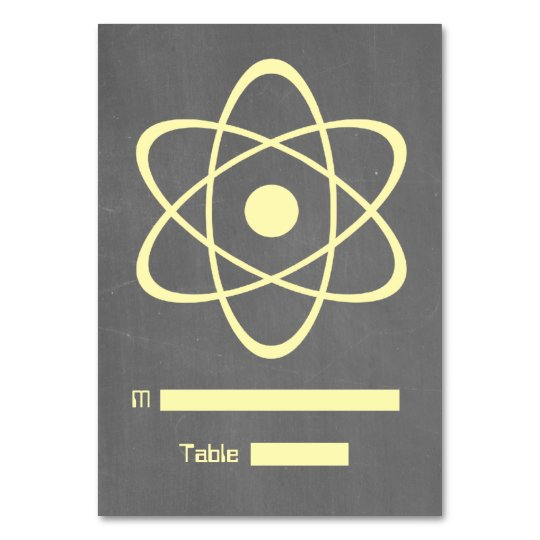 Yellow Atomic Chalkboard Place Card