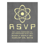 Yellow Atomic Chalkboard RSVP Postcard