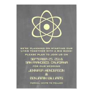 Yellow Atomic Chalkboard Save the Date Invite