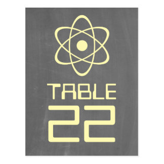 Yellow Atomic Chalkboard Table Number 2sided Postcard