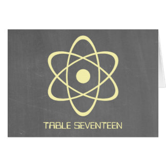 Yellow Atomic Chalkboard Table Number Card