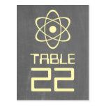 Yellow Atomic Chalkboard Table Number Postcard