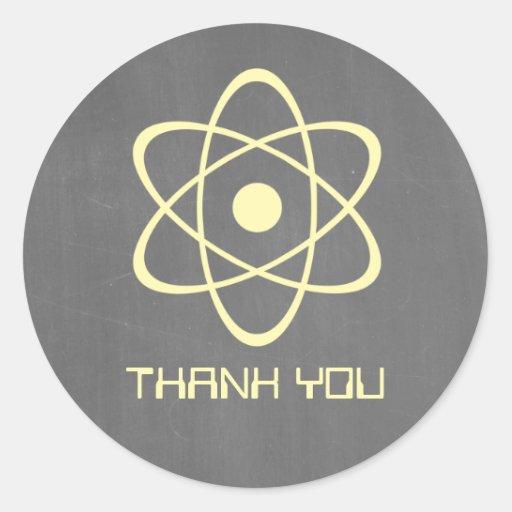Yellow Atomic Chalkboard Thank You Stickers