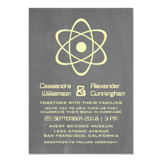 "Yellow Atomic Chalkboard Wedding Invite 5"" X 7"" Invitation Card"