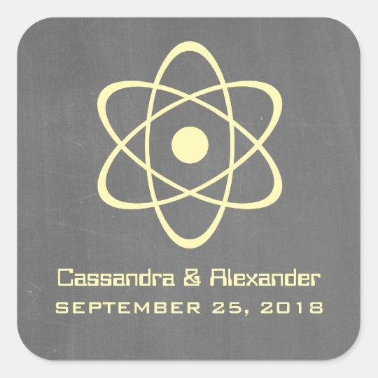 Yellow Atomic Chalkboard Wedding Stickers