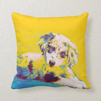 yellow australian shephard puppy pillow