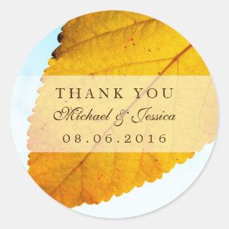 Yellow Autumn Leaf Fall Wedding Thank You Sticker
