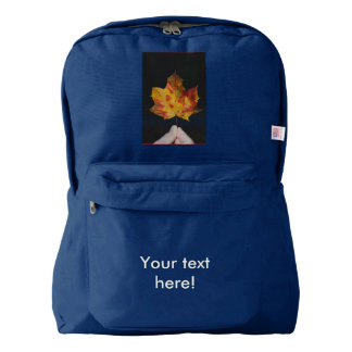 Yellow autumn leaf macro backpack