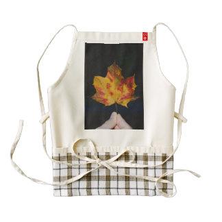 Yellow autumn leaf macro zazzle HEART apron