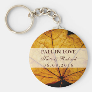 Yellow Autumn Leaf Wedding Thank You Keychain