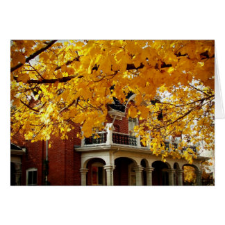Yellow Autumn Leaves and Old Brick House Card