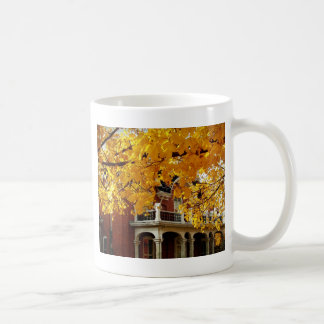 Yellow Autumn Leaves and Old Brick House Coffee Mug