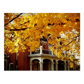 Yellow Autumn Leaves and Old Brick House Postcard