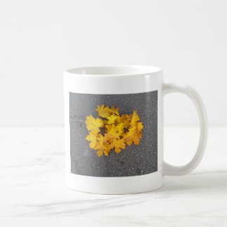YELLOW AUTUMN LEAVES BRANCH CLASSIC WHITE COFFEE MUG