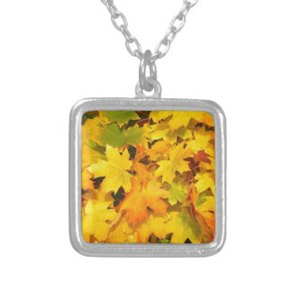 Yellow Autumn Leaves Square Pendant Necklace