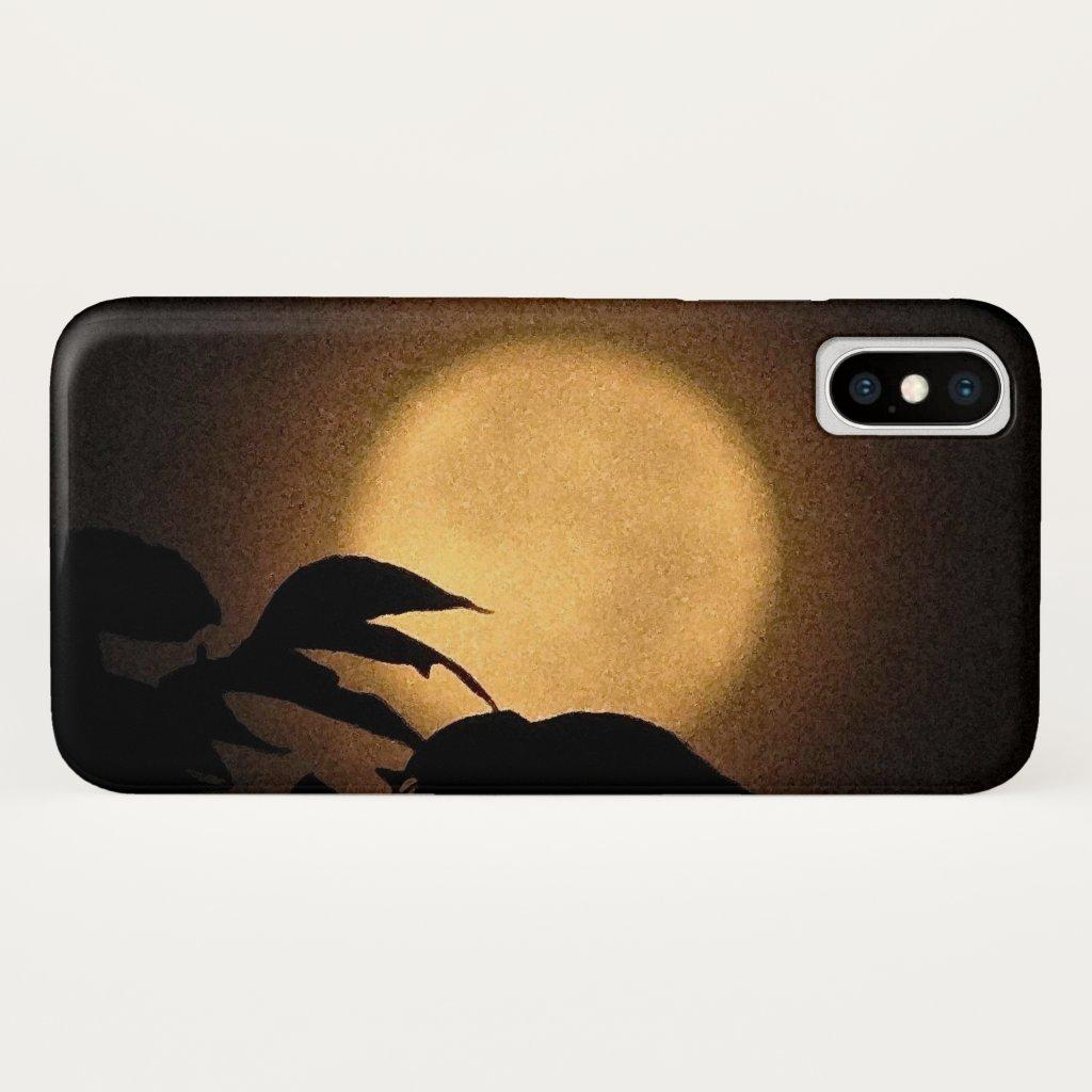Yellow Autumn Moon Abstract iPhone X Case