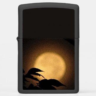 Yellow Autumn Moon Abstract Zippo Lighter