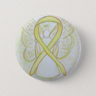Yellow Awareness Ribbon Angel Art Button