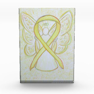 Yellow Awareness Ribbon Angel Art Paperweight Gift Awards