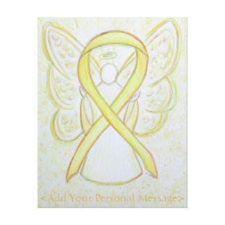 Yellow Awareness Ribbon Angel Custom Canvas Art