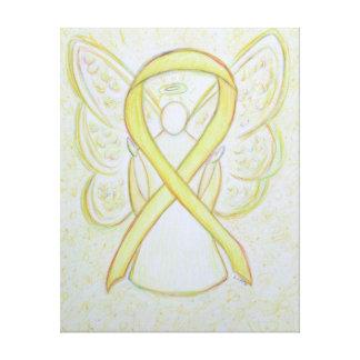 Yellow Awareness Ribbon Angel Wrapped Canvas Art