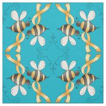 Yellow Awareness Ribbon Bee Fabric