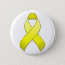 Yellow Awareness Ribbon Button
