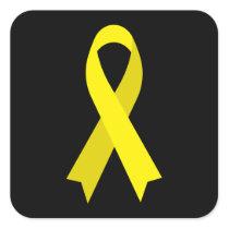 Yellow Awareness Ribbon by Janz Black Square Sticker