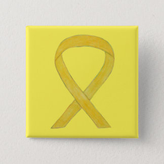 Yellow Awareness Ribbon Custom Art Pins