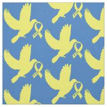 Yellow Awareness Ribbon Dove of Hope Fabric