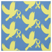 Yellow Awareness Ribbon Dove of Hope Fabric