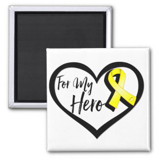 Yellow Awareness Ribbon For My Hero 2 Inch Square Magnet
