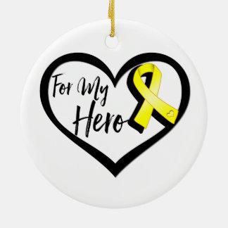 Yellow Awareness Ribbon For My Hero Ceramic Ornament
