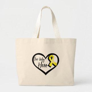 Yellow Awareness Ribbon For My Hero Large Tote Bag