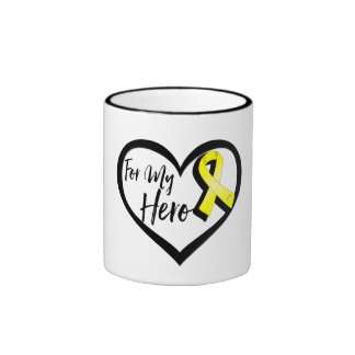 Yellow Awareness Ribbon For My Hero Ringer Mug