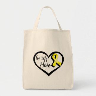Yellow Awareness Ribbon For My Hero Tote Bag