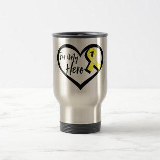 Yellow Awareness Ribbon For My Hero Travel Mug